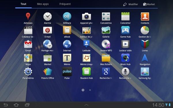 Capture d'écran tablette android