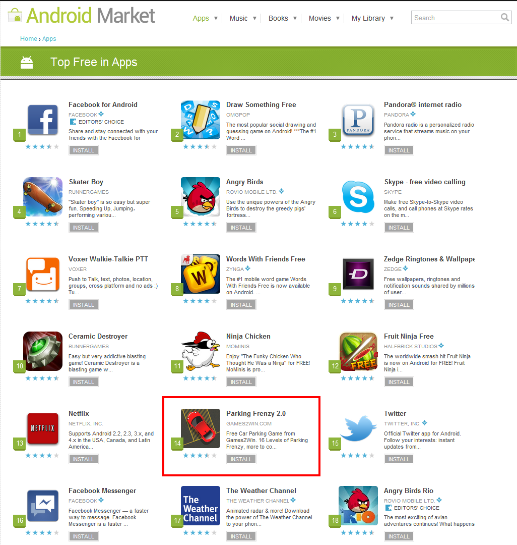 Android market application download