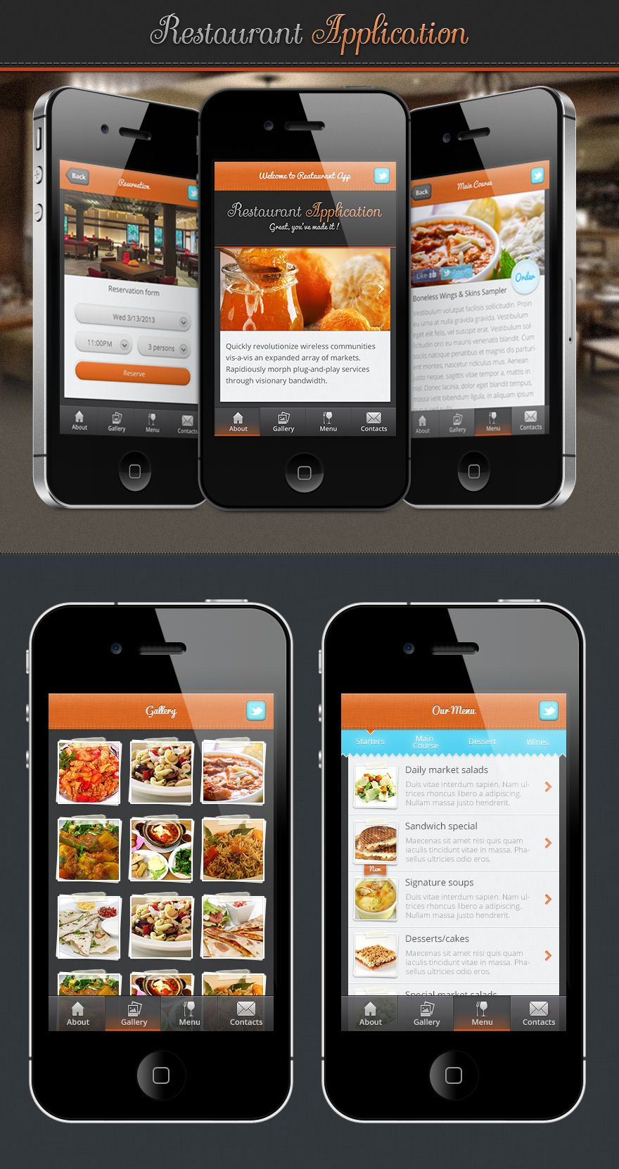 Application iphone restaurant