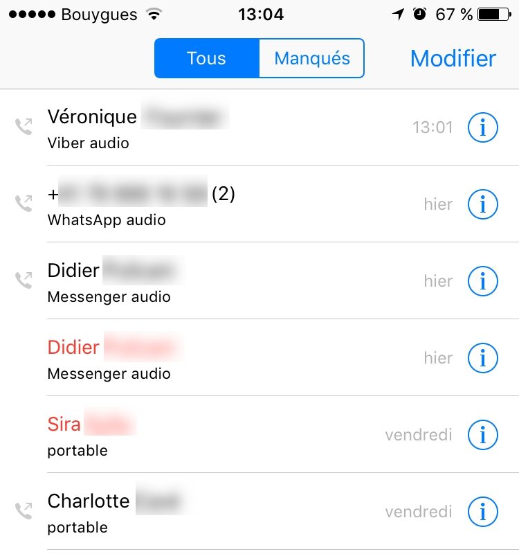 Application historique appel iphone