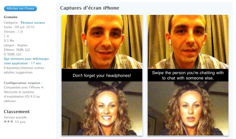 Application chatroulette iphone