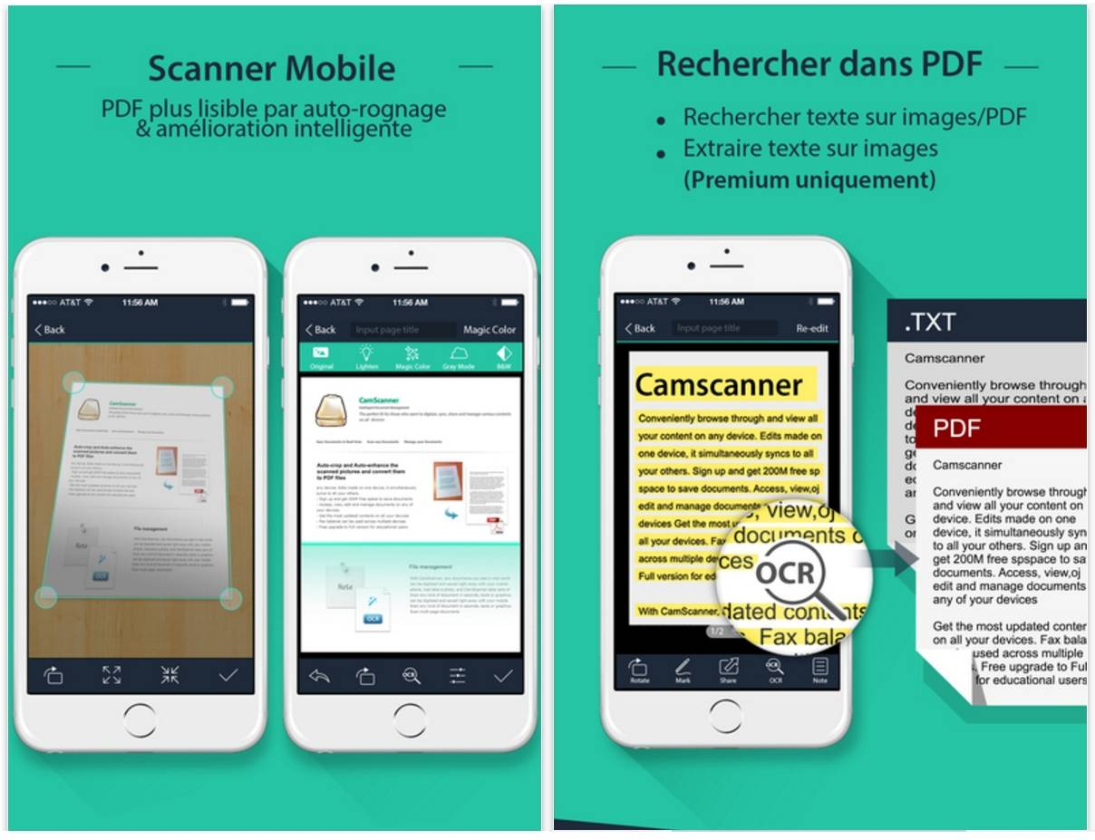 Application scanner texte iphone