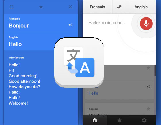Google traduction application iphone