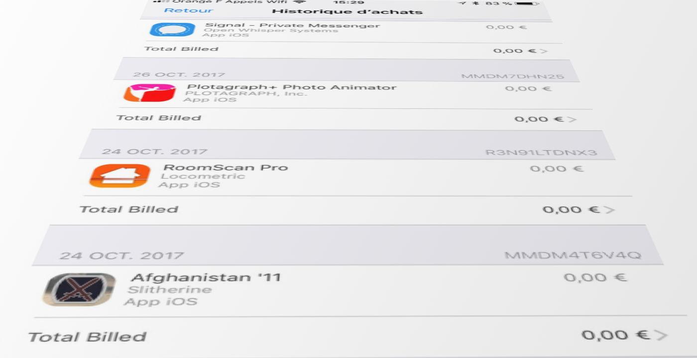 Historique application iphone