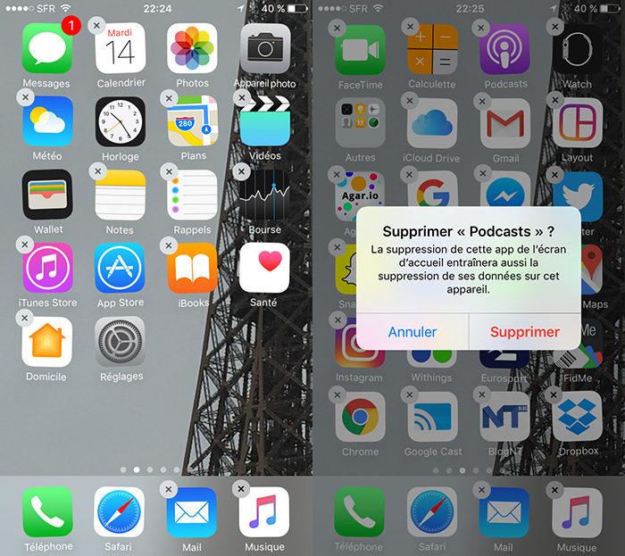 Supprimer application préinstallée iphone