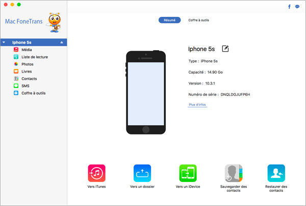 Application iphone transfert contact