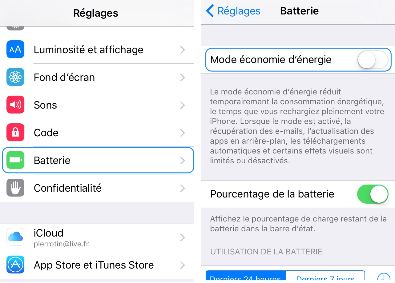 Application iphone batterie
