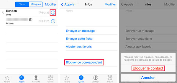 Application iphone blocage numéro