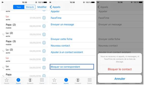 Application bloquer numero iphone