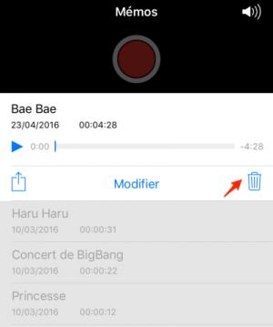 Supprimer les données d'une application iphone