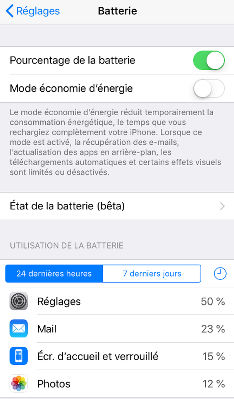Iphone application batterie