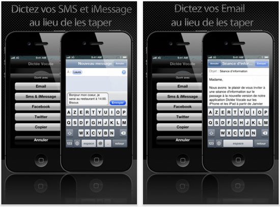 Application dictée vocale iphone