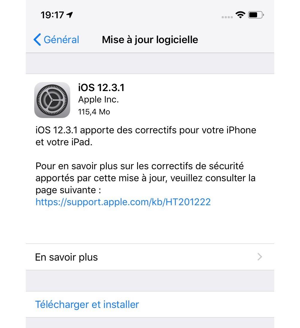 Problème mise à jour application iphone