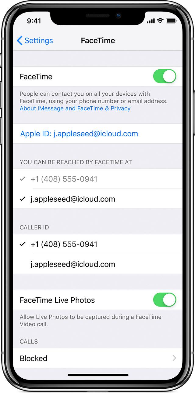 Application facetime iphone