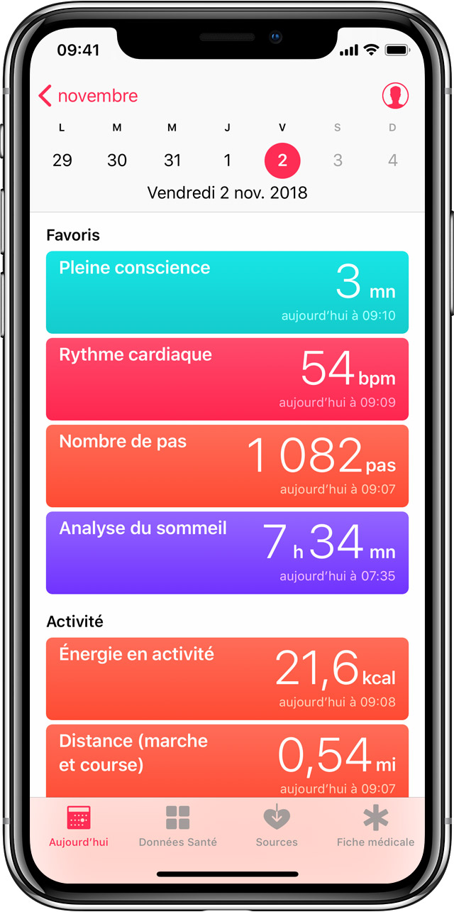 Application iphone activité physique