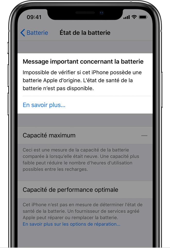 Application capacité batterie iphone