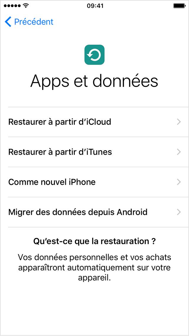 Application et données iphone
