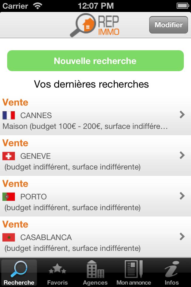 Recherche application iphone