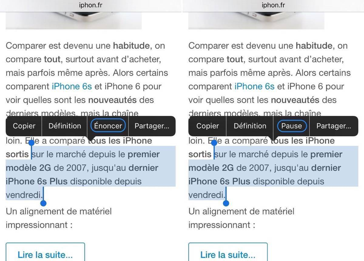 Application iphone lecture texte