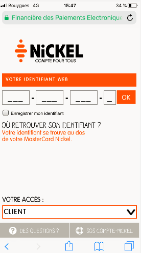 Application iphone compte nickel