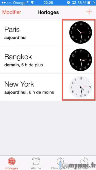 Application horloge iphone