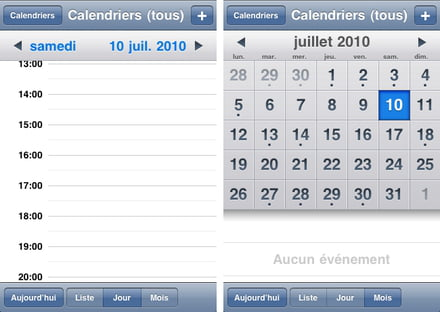 Application calendrier iphone