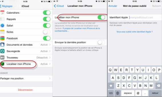 Réinitialiser une application iphone
