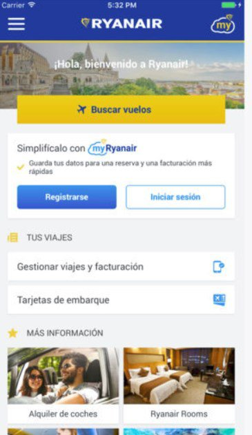 Application ryanair pour iphone