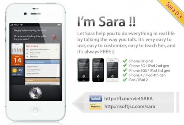 Application siri sur iphone 4
