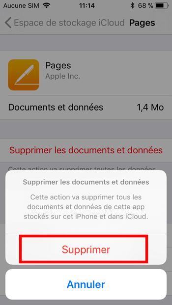 Supprimer documents et données application iphone