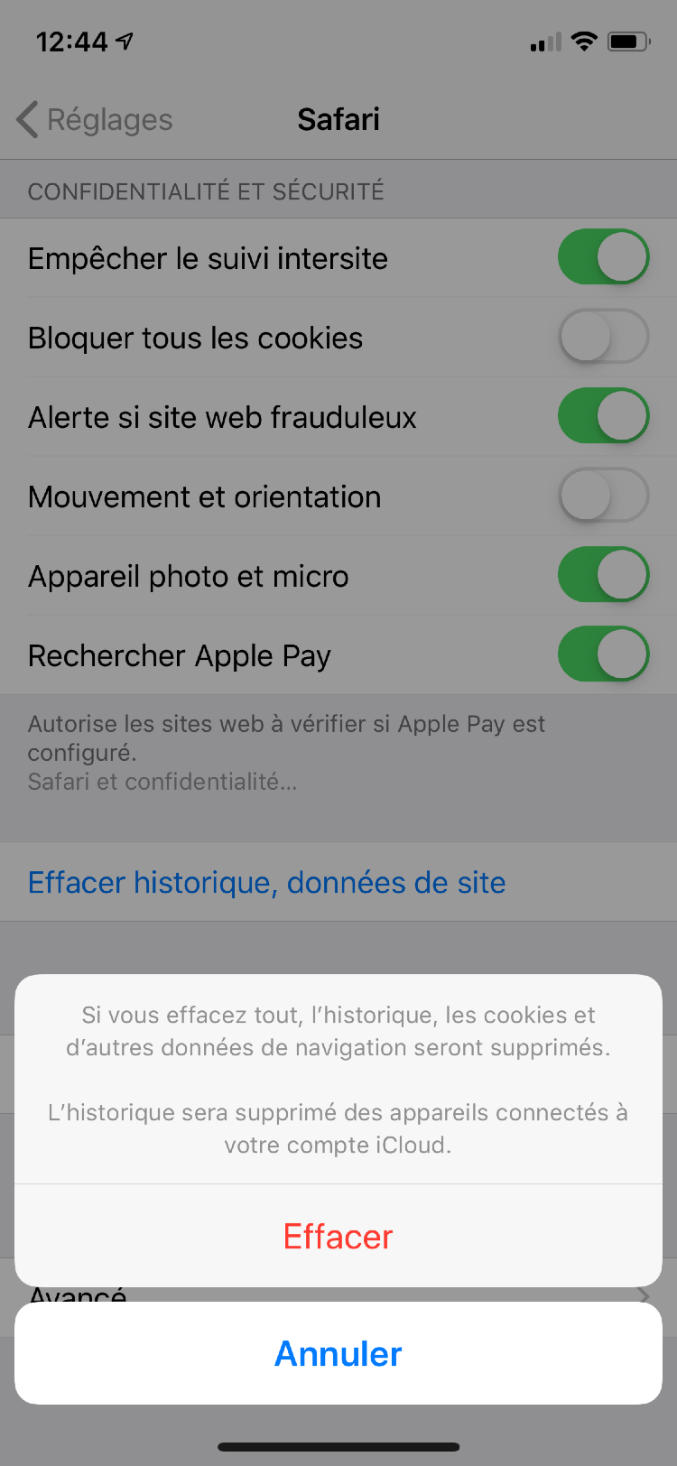 Effacer historique application iphone