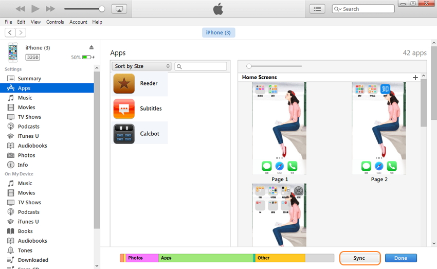 Transferer application itunes iphone