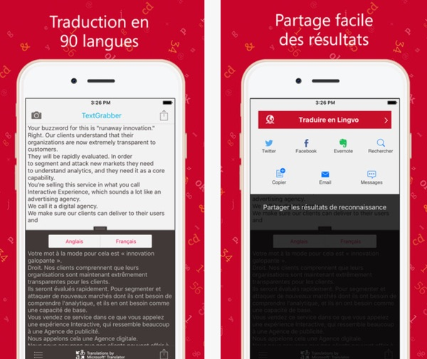 Application traduction photo iphone