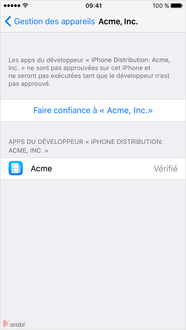 Faire application iphone