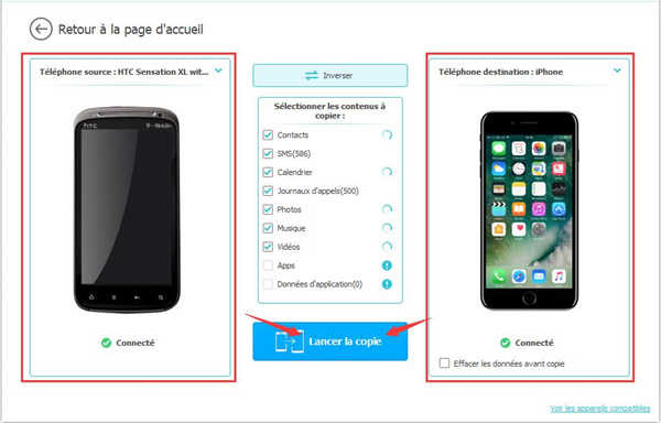 Transferer application iphone vers android