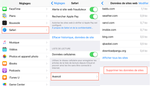 Supprimer le cache application iphone