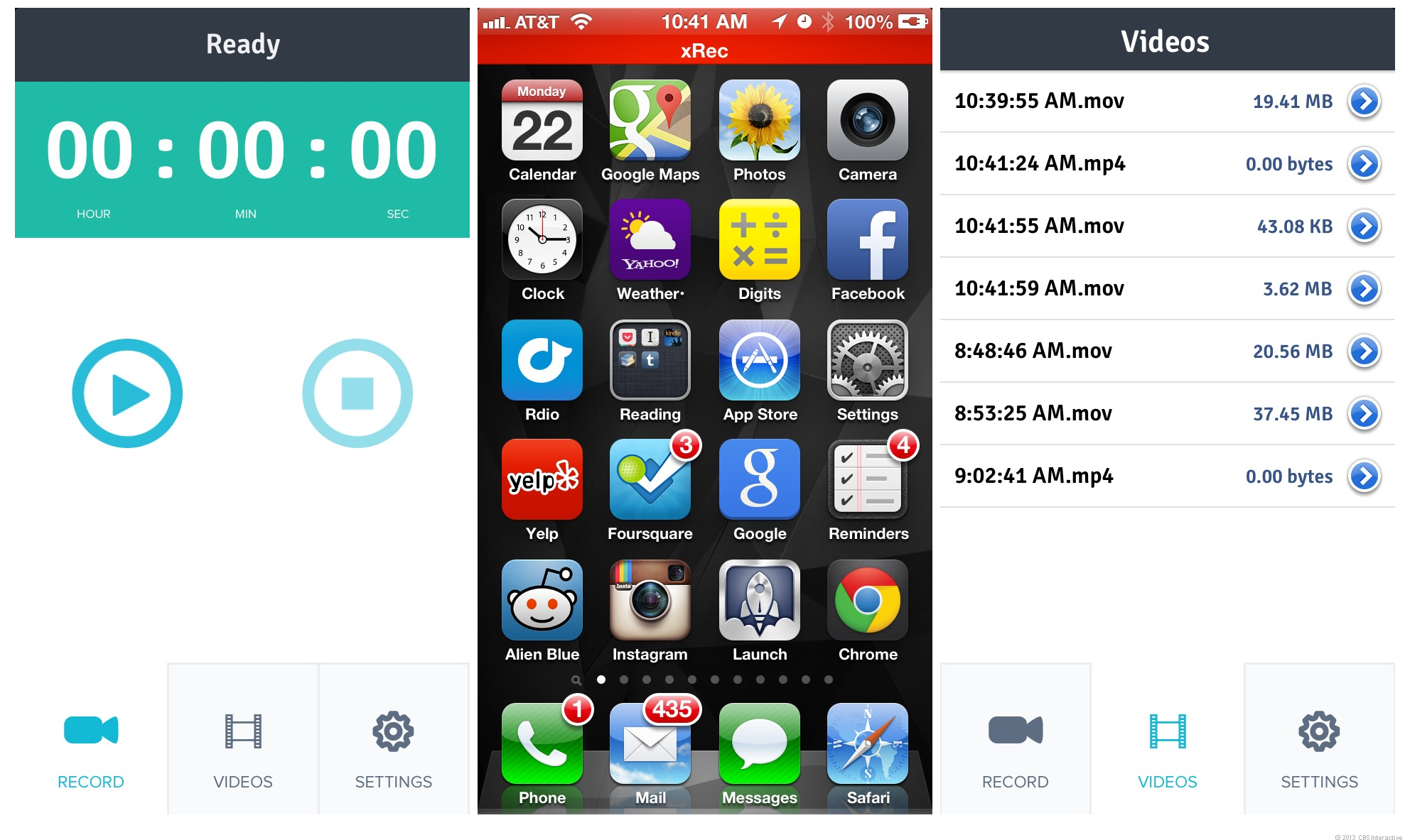 Application screen video iphone