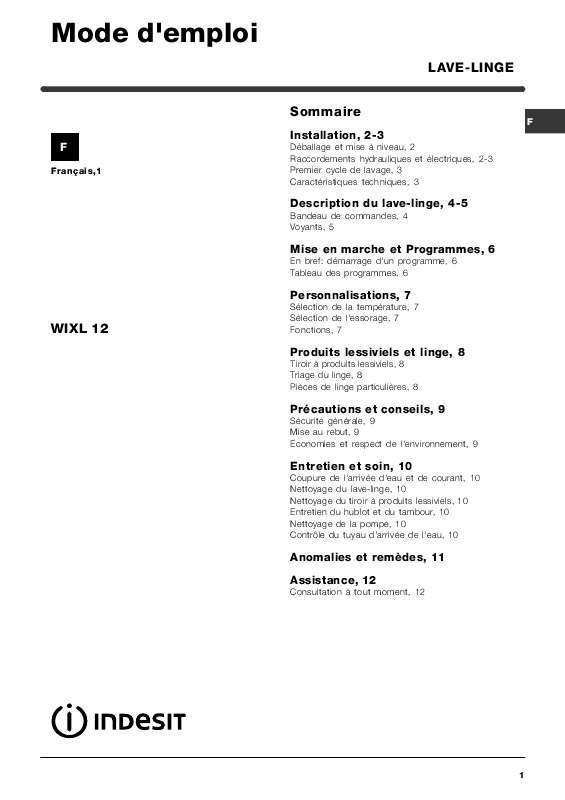 Lave linge indesit wixe12